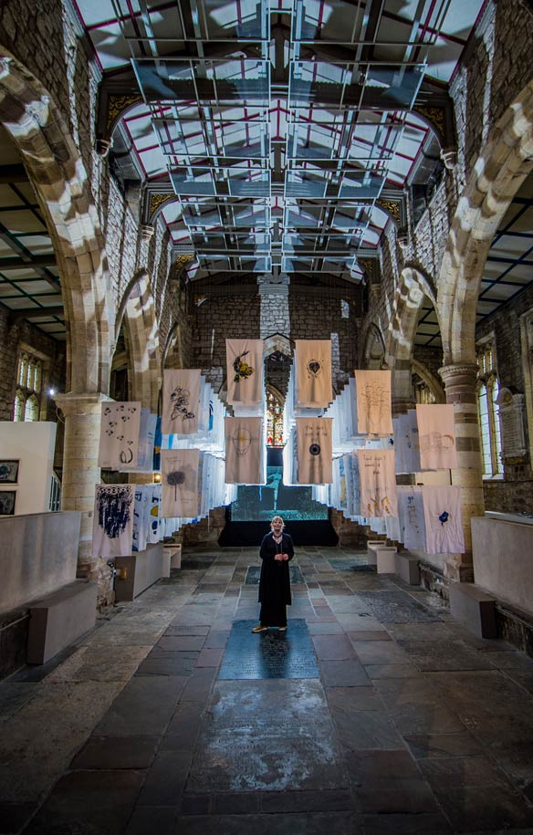 Susan Aldworth in her installation The Dark Self, York St Mary's photo by James Hardisty. 2017